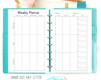 Weekly Planner Pages, Week On Two Pages Half Size Planner, Weekly Agenda Printable