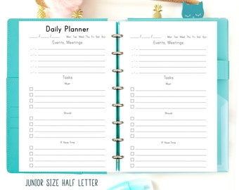 Daily Planner Pages Printable To Do List, Half Size Planner, Discbound Printable Planner