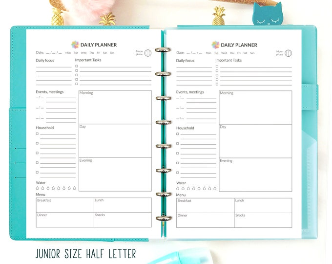 Daily on One Page, Half Letter Planner, Half Letter Inserts, Printable To Do List.