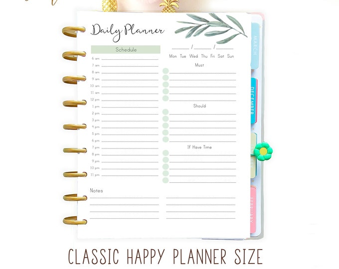 Daily Hourly Planner made to fit Happy Planner Printable Insert, Daily Planner Pages
