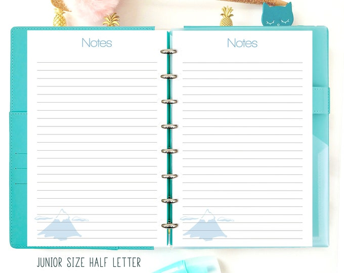 Half Letter Planner Printable, Half Size Inserts, Notes Inserts, Discbound Junior Inserts