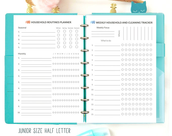 Household Binder, Cleaning List, Family Organizer, Half Size Planner, Half Letter Inserts Printable