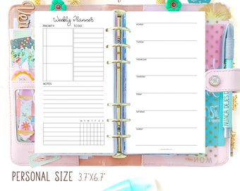 Weekly Planner Pages, Personal Filofax Refills, Personal Size Planner Inserts