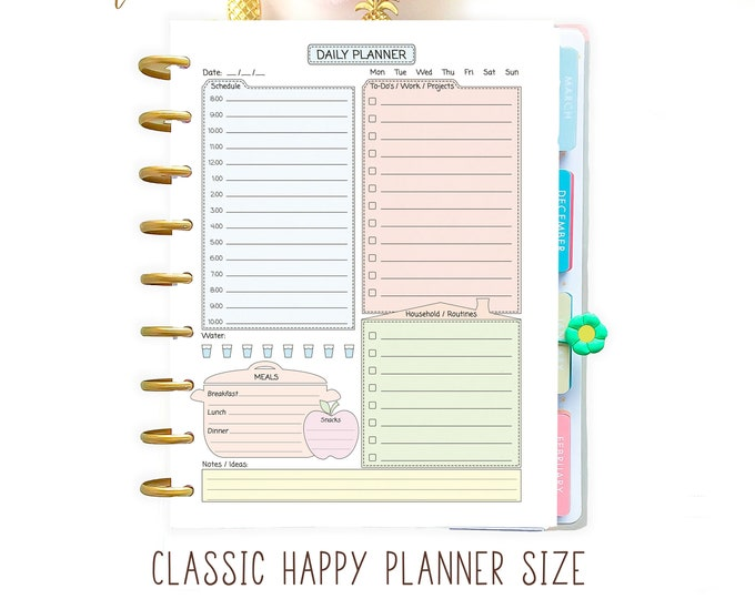Daily Planner Pages, Printable Happy Planner insert Do1p