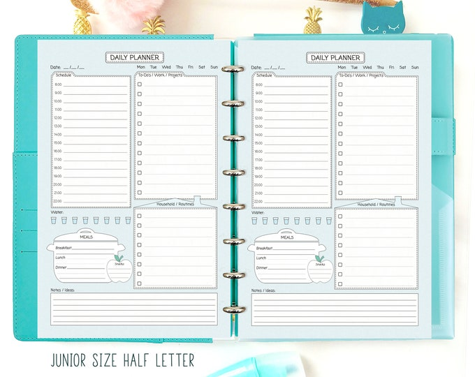 Half Size Planner, Day On One Page Printable, Daily Planner Pages, Junior Size Planner