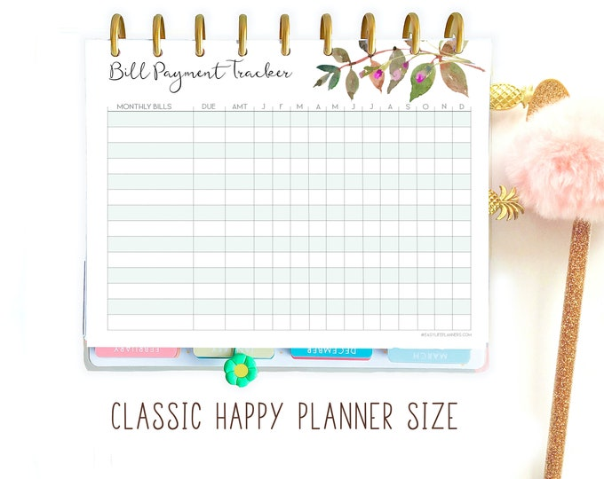 Bill Payment Tracker Printable Planner, Made to fit Happy Planner Refill