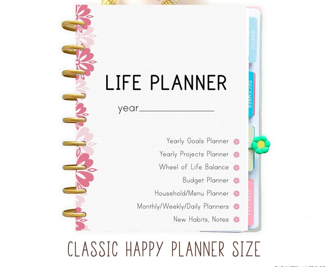 Life Planner Printable made to fit Classic Happy Planner Inserts and Erin Condren Inserts