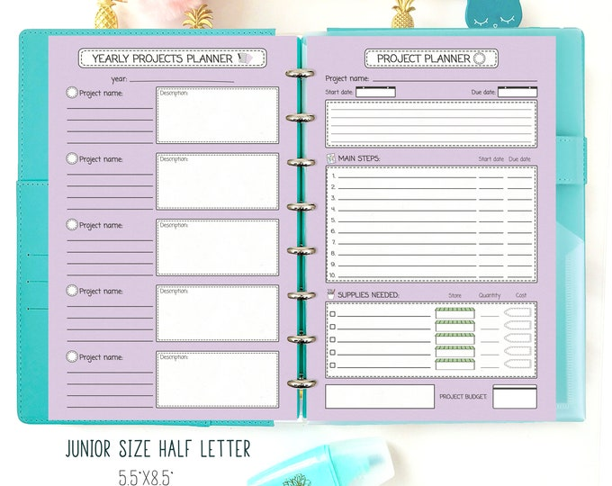 "Project Planner Half Letter Productivity Planner Inserts Filofax Inserts Purple Planner Printable Planner Pages 8.5""x5.5"" Instant Download"