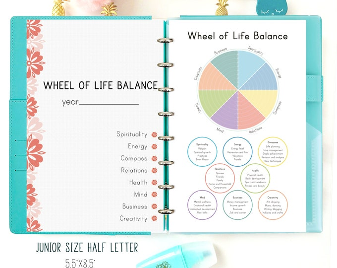 Half Letter Inserts, Wheel of Life Balance Template, Discbound printables