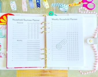 Cleaning Schedule Half Size Planner Printable Home Management Housework Planner Tasks Monthly Household Binder Set