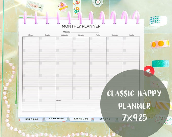 Monthly Planner Classic Happy Planner 2021 Printable Monthly Calendar Agenda Wall Calendar Black and White Planner Inserts Instant Download