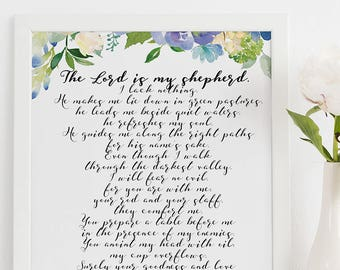 Bible Verse Wall Art Scripture Wall Art The Lord is my Shepherd Psalm 23 Bible Verse Gift Christian Bible Quote Nursery Script Printable
