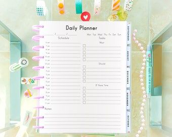 daily planner printable letter size 8 5x11 big happy planner etsy