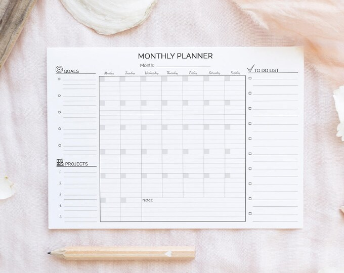 Monthly Planner A4 Binder Inserts Printable Lined Undated Monthly To Do Monthly Wall Calendar Monthly Agenda Instant Download Desk Planner
