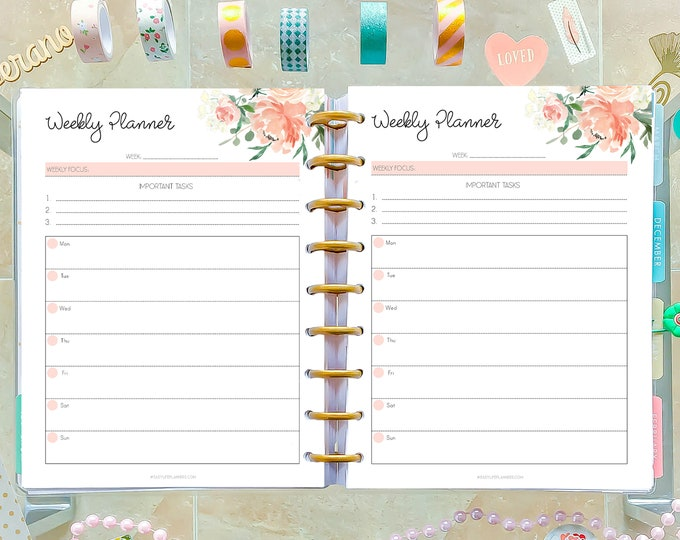 Weekly Planner Pages made to fit Classic Happy Planner Inserts Printable, 7x9 Planner, WO2P
