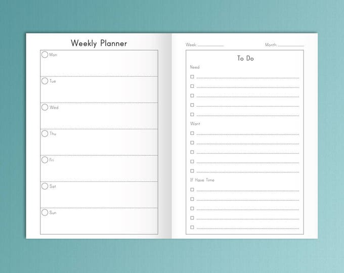 B6 Weekly Insert Printable B6 Insert B6 Traveler's Notebook Insert, Weekly Traveler's Notebook Insert Weekly Planner Instant Download
