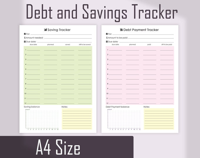 Financial Planner, Debt tracker, Financial printable, Savings tracker A4