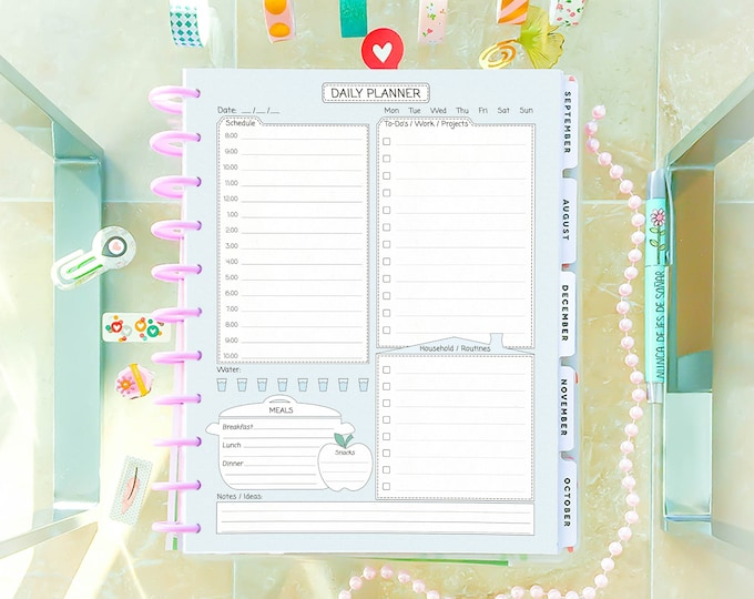 Daily Planner Printable for Big Happy Planner Inserts, Undated Planner.