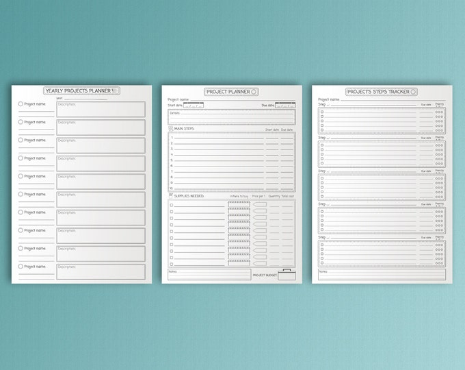 Productivity Planner, Goals Tracker, Printable Planner Pages