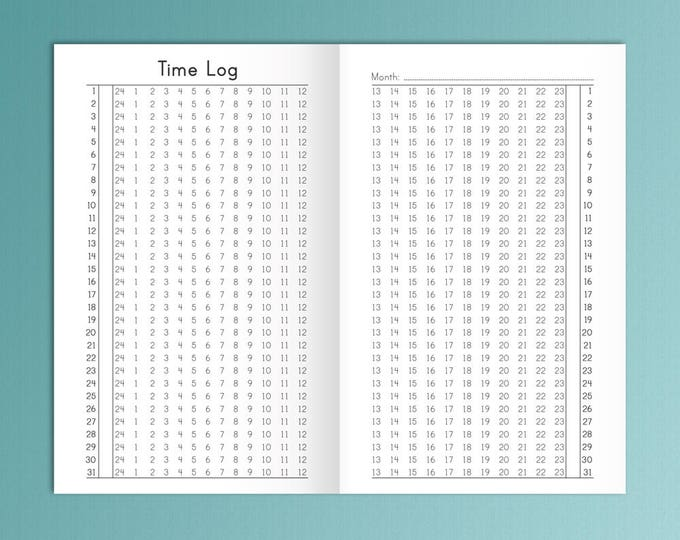 TN Pocket Size Time Log Field Notes Size Habit Tracker 3.5 x 5.5 Traveler's Notebook Inserts Monthly Habit Tracker Instant Download