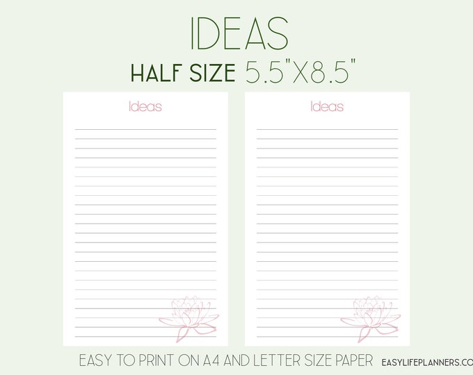 Ideas Inserts, Half Letter Planner Printable, Half Size Inserts,
