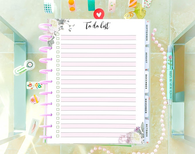 Printable To Do List made to fit Big Happy Planner Inserts