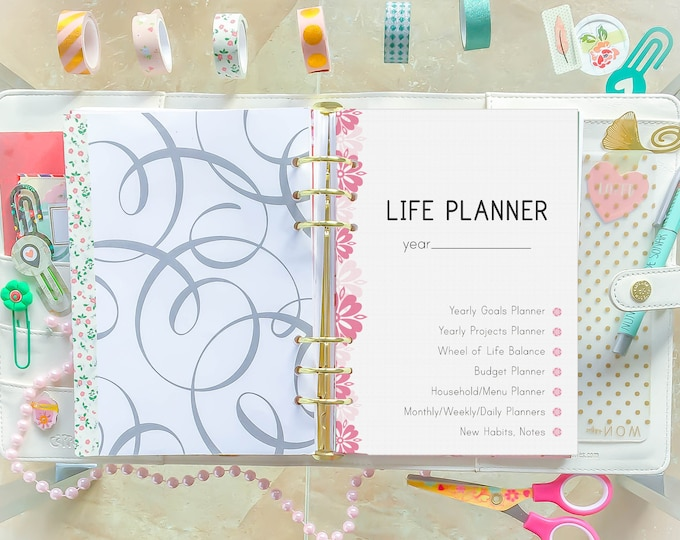 Life Planner 2020, A5 Printable Planner Inserts, Life Organizer