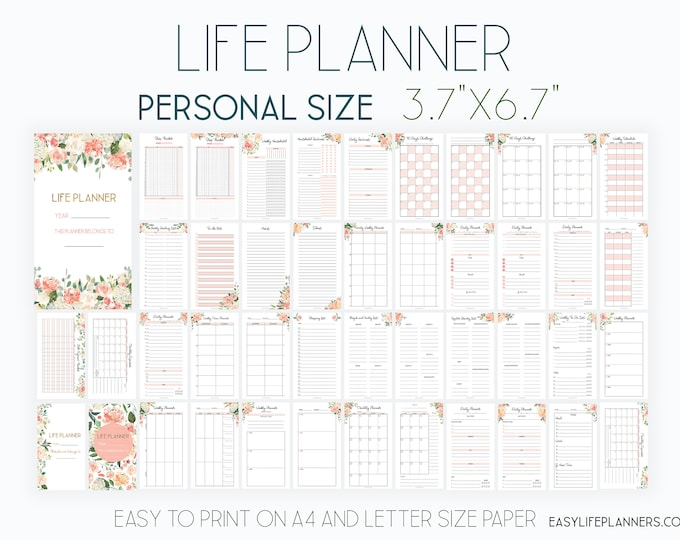 Printable Life Planner 2020, Personal Size Planner Inserts, New Year Planner