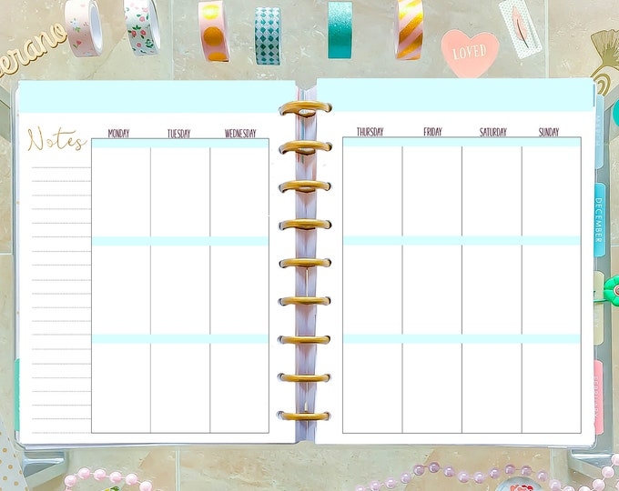 Weekly Agenda, Weekly Planner Pages made to fit Happy Planner Inserts Printable, Classic Happy Planner Printable