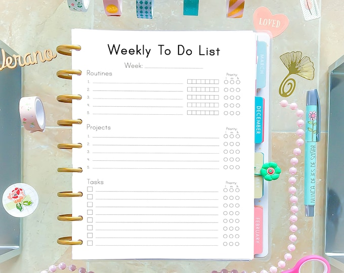 Weekly Planner Pages, Weekly To Do List, Printable To Do List, Happy Planner Pages