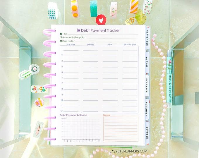 Savings Tracker for Big Happy Planner Inserts, Finance Planner, Debt Tracker