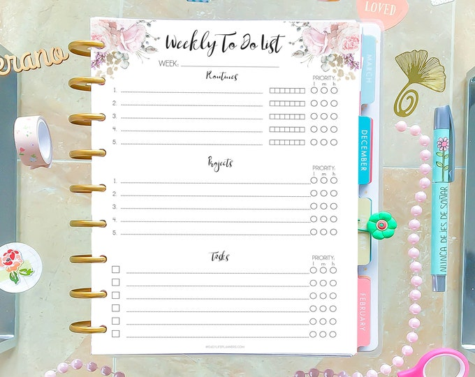Weekly To Do List Printable Planner made to fit Happy Planner Insert and Erin Condren Inserts