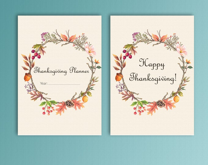 Thanksgiving Planner A5 Planner Inserts Menu Planner Autumn Decorations