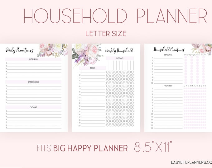 Cleaning List, Daily Routine, made to fit Big Happy Planner Inserts Home Management Printable
