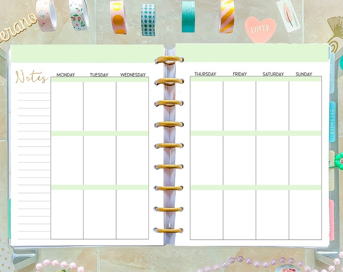 Weekly Agenda, Weekly Planner Pages made to fit Happy Planner Inserts Printable, Week On Two Pages