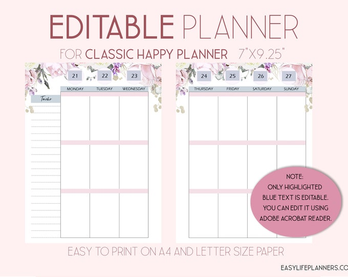Editable Planner, 2020 Weekly Planner Pages, Wo2P, made to fit Happy Planner Template
