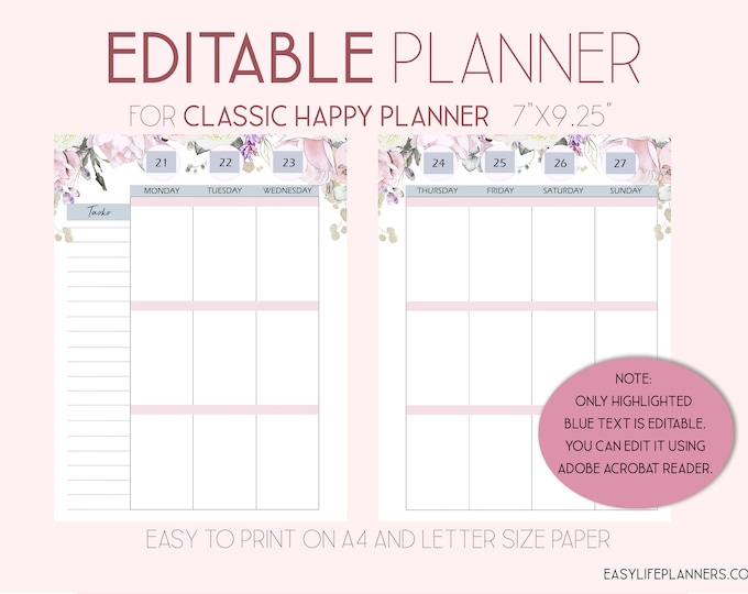 Editable Planner, 2021 Weekly Planner Pages, Wo2P, made to fit Happy Planner Template