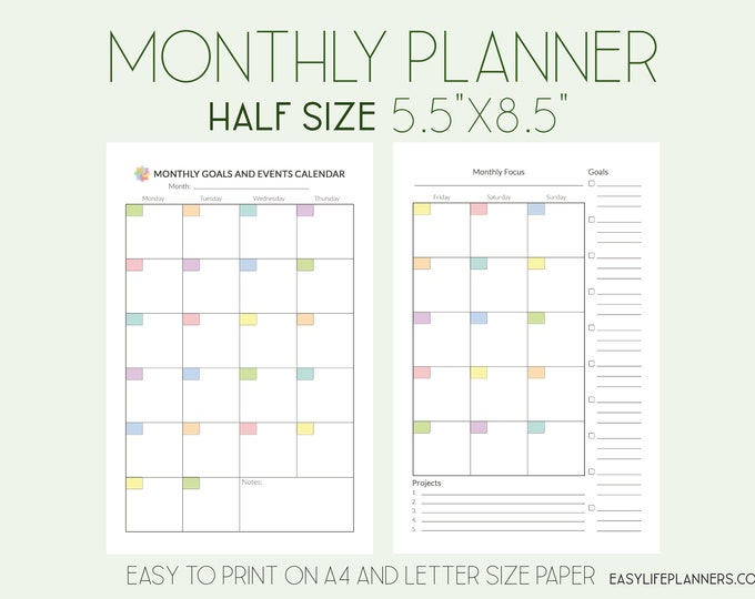 Monthly Planner Printable Half Size Planner, Mo2P Month on two pages.