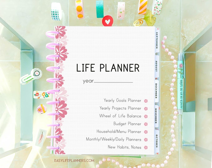 Featured listing image: Life Planner 2020 Printable Planner Pages, Daily Planner Inserts, 8.5 x 11