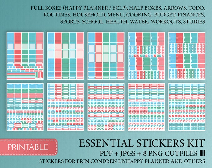 Happy Planner Stickers Printable Full Box  Sticker Cutfile Full Weekly Colorful  Decorative Stickers. Made To Fit Erin Condren Planner