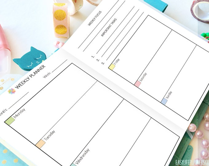 A6 TN Inserts, Weekly Planner Pages, A6 Planner Inserts Printable Weekly Planner Pages