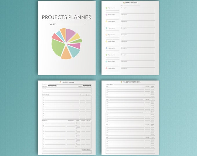 Big Happy Planner Insert Project Planner Letter Printable Productivity Planner Task Tracker Goals Tracker Digital Template Instant Download
