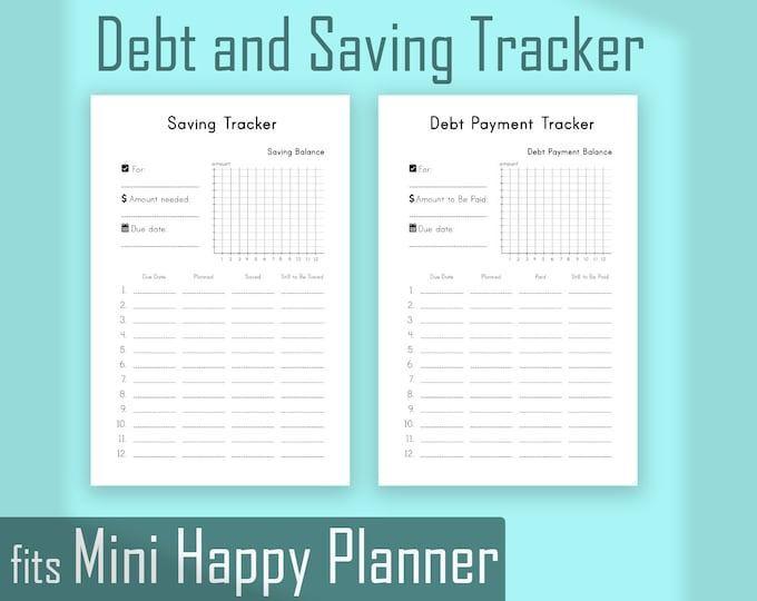 Saving Tracker, Debt Tracker,  made to fit Mini Happy Planner Budget, Mini Happy Planner Inserts, Finance Printable