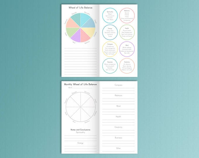 Midori Traveler's Notebook Inserts Life Balance Wheel Printable pdf Instant Download Midori Insert Midori Planner TN Insert Instant Download