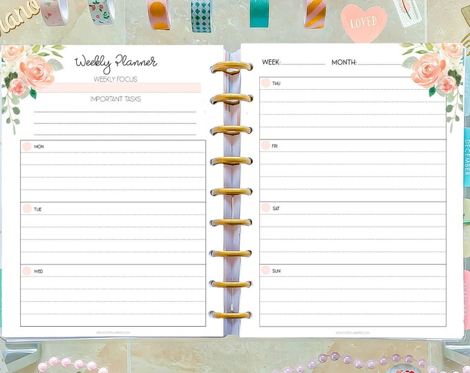 Weekly Planner Pages made to fit Classic Happy Planner Lined Planner, Weekly Agenda Printable