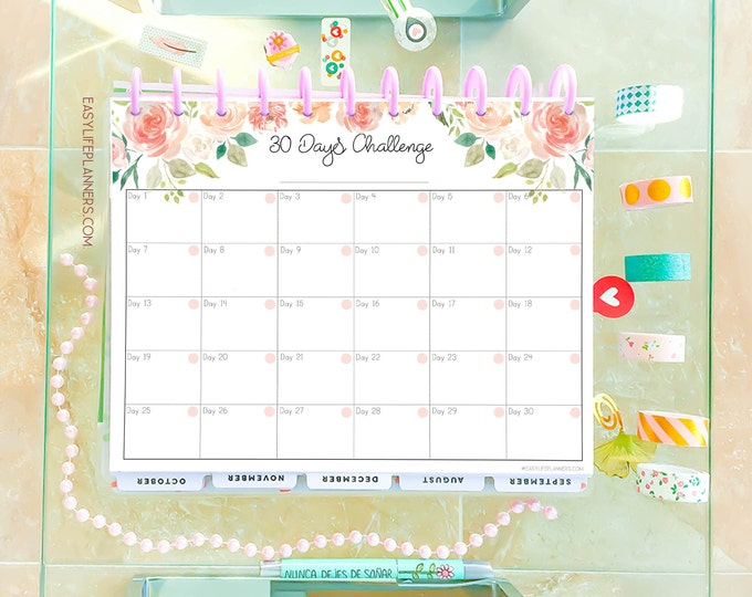 30 Day Challenge, Weight Loss Tracker, Workout log, Big Happy Planner Inserts Habit tracker printable,