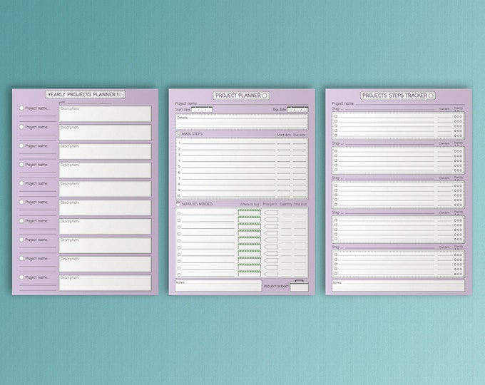 Project Planner, Goal Tracker, A4 Binder, Printable Inserts