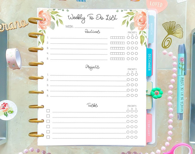 Weekly To Do List, made to fit Happy Planner Inserts Printable, Weekly Planner, W01p, Weekly Agenda