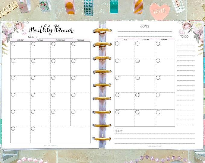 Monthly Planner Printable made to fit Happy Planner Insert and Erin Condren Inserts