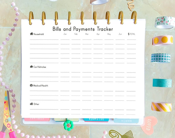 Budget Planner Printable, made to fit Erin Condren Inserts and Happy Planner Inserts, Bill Tracker